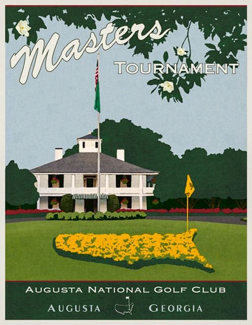 Masters Augusta National Golf Club. Carteles y pósters deportivos.