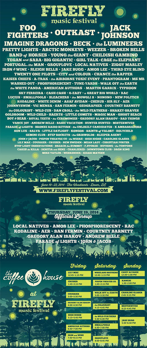 Firefly Music Festival 2014. Diseño Carteles y posters.