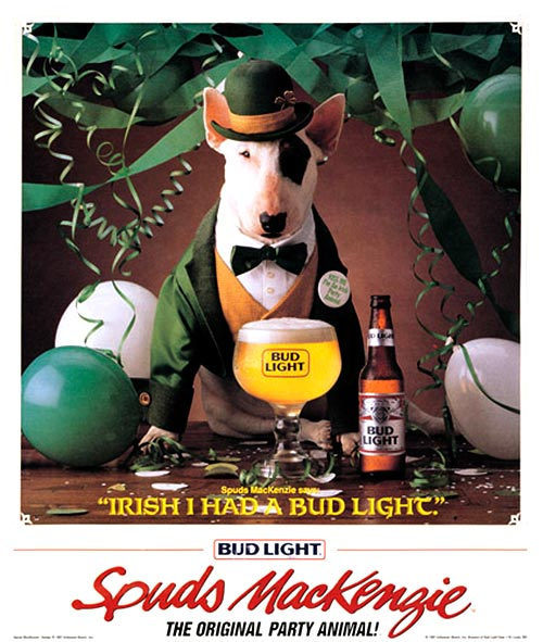 Bud Light. Spuds Mackenzie. St. Patricks Day.