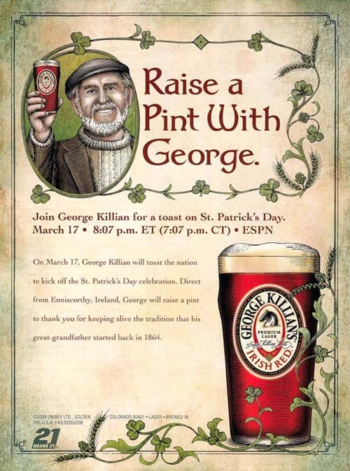 George Killian. St Patrick's Day (San Patricio). Diseño Carteles.