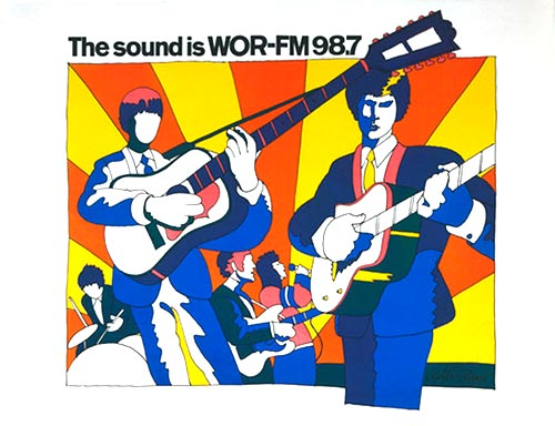 Milton Glaser Poster, 'The sound is WOR-FM 98.7'. The Beatles.