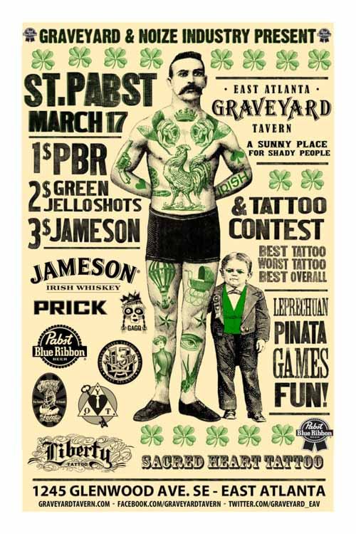 St. Pabst Day. St Patrick's Day Poster (San Patricio). Diseño Carteles.