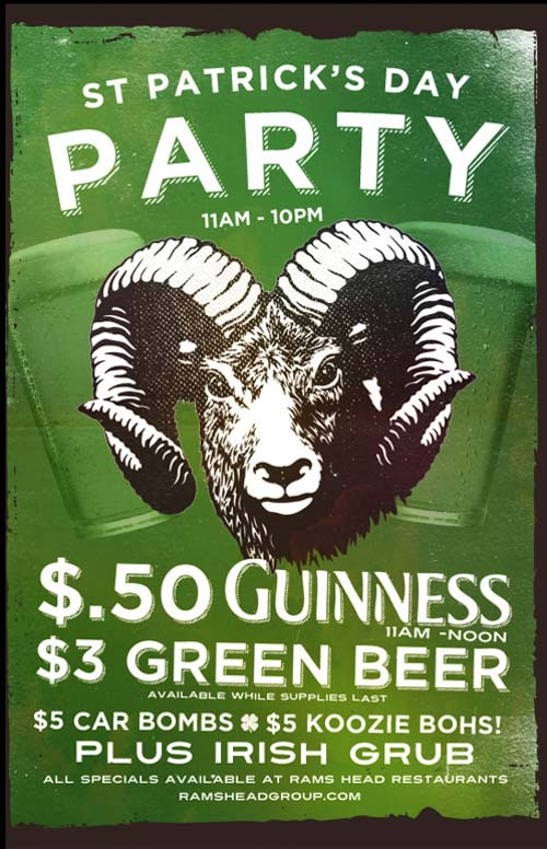 The Rams Head Group. St Patrick's Day (San Patricio).