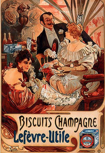 1896 biscuits champagne lefevre utile alphonse mucha