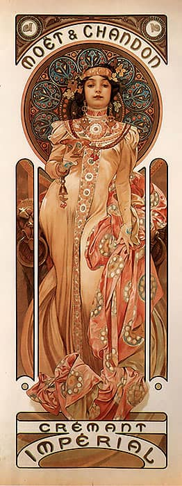 1899 moet chandon cremant imperial alphonse mucha