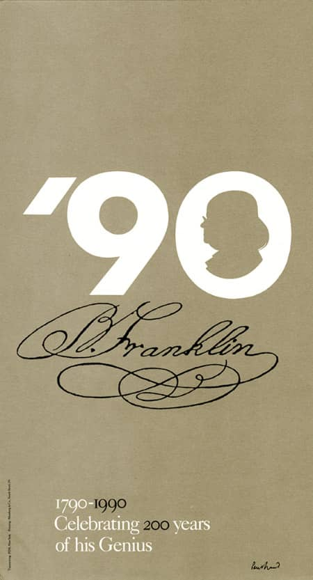 1990 ben franklin 200th anniversary paul rand